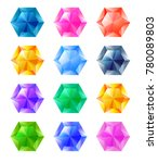 set of cartoon hexagon... | Shutterstock .eps vector #780089803
