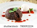 lava cake with ice cream | Shutterstock . vector #780092224