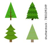 set of christmas trees painted... | Shutterstock .eps vector #780109249