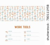 work tools concept with thin... | Shutterstock .eps vector #780111958