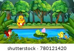 duck swimming in the river   Shutterstock .eps vector #780121420