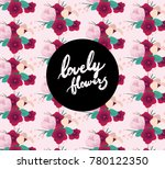 floral pattern with hand draw... | Shutterstock .eps vector #780122350