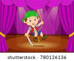 cute little boy wearing pirate... | Shutterstock .eps vector #780126136