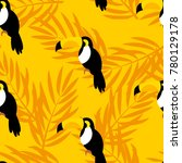 summer pattern with toucan and... | Shutterstock .eps vector #780129178