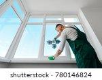 installing a white corner... | Shutterstock . vector #780146824