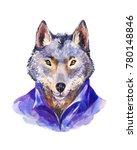 hipster illustration  wolf in... | Shutterstock . vector #780148846