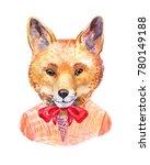 watercolor fox. hipster...   Shutterstock . vector #780149188