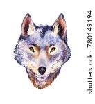 watercolor wolf  portrait of...   Shutterstock . vector #780149194