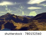 fantasy alien planet. mountain. ... | Shutterstock . vector #780152560