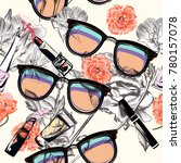 fashion pattern with glasses ... | Shutterstock .eps vector #780157078