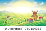 rural sunrise landscape with a... | Shutterstock . vector #780164383
