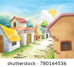 Village Street Illustration