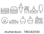 sweets and junk food line icon... | Shutterstock .eps vector #780182530