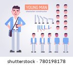 happy young man character with... | Shutterstock .eps vector #780198178