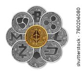 set of gold and silver crypto... | Shutterstock .eps vector #780206080