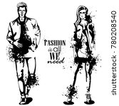 vector woman and man fashion | Shutterstock .eps vector #780208540