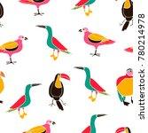 hand drawn multicolored birds... | Shutterstock .eps vector #780214978