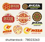 the set of pizza signs   Shutterstock .eps vector #78023263