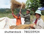 people at a ricefield naer the ... | Shutterstock . vector #780235924