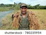 people at a ricefield naer the ... | Shutterstock . vector #780235954