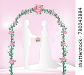 couple standing and rose ivy...   Shutterstock .eps vector #780242884