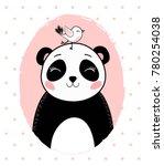 cute panda with bird vector.t... | Shutterstock .eps vector #780254038