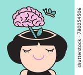 a brain blossoms atop a green... | Shutterstock .eps vector #780254506