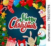 christmas greeting card  merry... | Shutterstock .eps vector #780255796