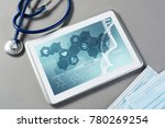 white tablet pc and doctor... | Shutterstock . vector #780269254