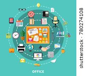 office decorative icons set in... | Shutterstock . vector #780274108