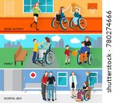disabled people horizontal... | Shutterstock . vector #780274666