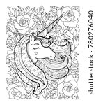 unicorn and flowers. magical... | Shutterstock .eps vector #780276040