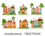 collection of cute cartoon... | Shutterstock .eps vector #780279244
