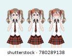 group of anime  manga  girls of ... | Shutterstock .eps vector #780289138