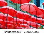 decorative red parasol hang in... | Shutterstock . vector #780300358