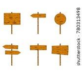 cartoon illustration   wooden...   Shutterstock . vector #780313498