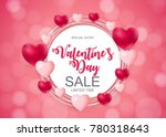 happy valentines day card with... | Shutterstock .eps vector #780318643