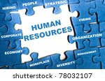 human resource blue puzzle... | Shutterstock . vector #78032107