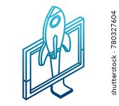 spaceship in pc screen start up | Shutterstock .eps vector #780327604