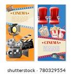 cinema 2 retro vertical banners ... | Shutterstock . vector #780329554