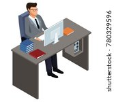 businessman on office desk 3d | Shutterstock .eps vector #780329596