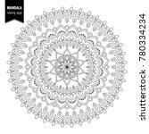 monochrome ethnic mandala... | Shutterstock .eps vector #780334234