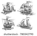 A Set Of Four Ancient Sailboat...