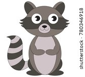 small raccoon cartoon. outlined ... | Shutterstock .eps vector #780346918