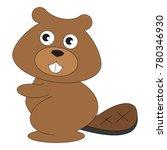 beaver cartoon. outlined...   Shutterstock .eps vector #780346930