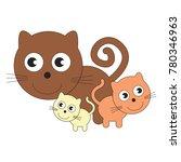 kitten mom and her infant... | Shutterstock .eps vector #780346963
