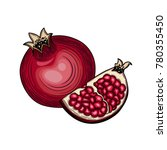pomegranate. half of... | Shutterstock .eps vector #780355450