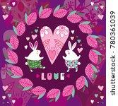 enamored rabbits in a frame... | Shutterstock .eps vector #780361039