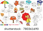 autumn set to be colored  the... | Shutterstock .eps vector #780361690