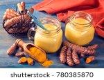 golden milk  beverage with... | Shutterstock . vector #780385870